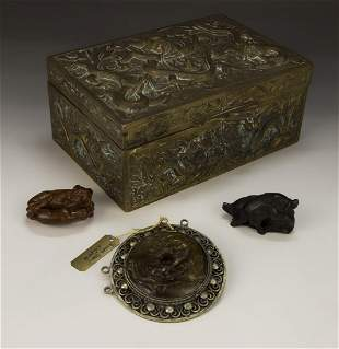 A CHINESE ANTIQUE BRONZE LIDDED BOX