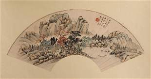 A CHINESE UNMOUNTED PAPER FAN PAINTING BY GU LINSHI