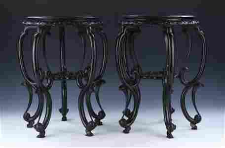 PAIR CHINESE ANTIQUE ZITAN WOOD STANDS