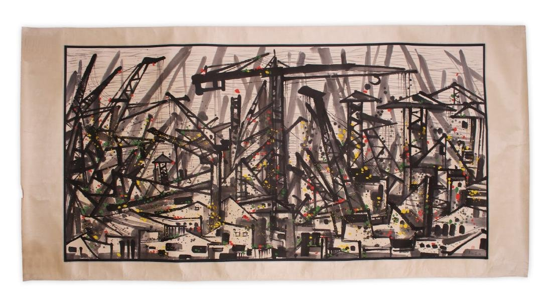 A MASSIVE CHINESE  PAPER PAINTING BY WU GUANZHONG