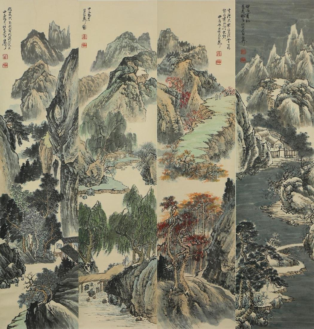 FOUR (4) CHINESE PAPER PAINTING SCROLLS BY XIE ZHILIU