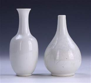 TWO 2 CHINESE ANTIQUE MIXED WHITE GLAZED PORCELAIN