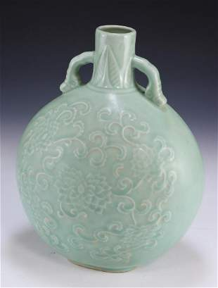 A CHINESE ANTIQUE CELADON GLAZED PORCELAIN MOON FLASK