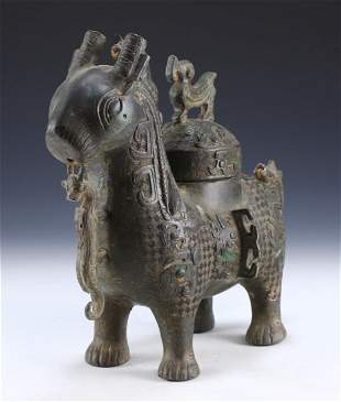 A CHINESE ANTIQUE ARCHAIC BRONZE LIDDED GOAT VESSEL