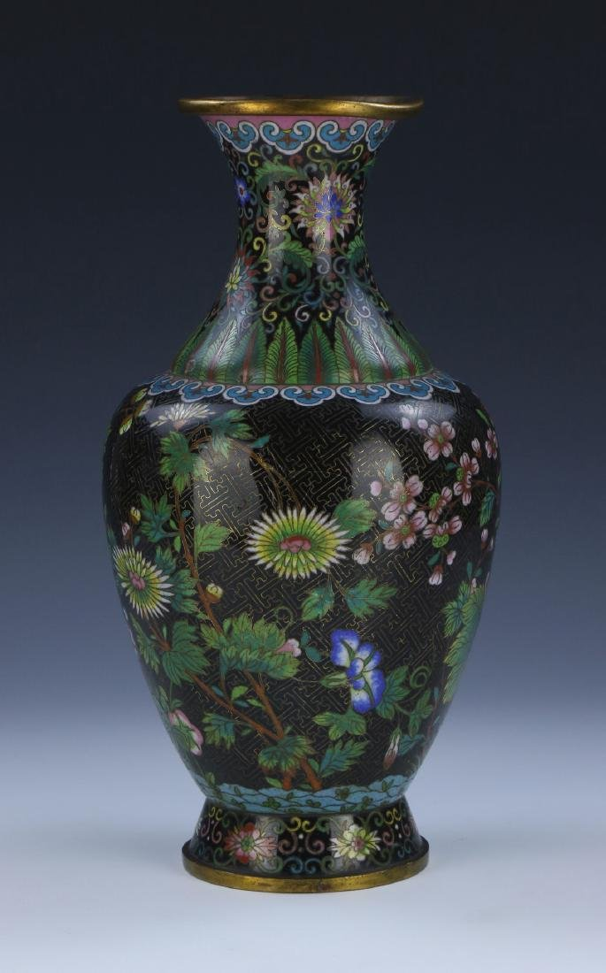 A CHINESE ANTIQUE CLOISONNE ON BRONZE VASE - 2