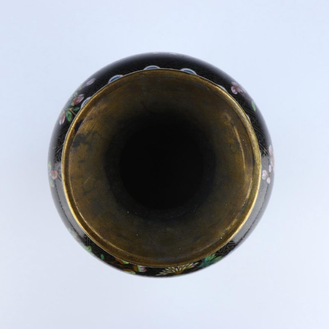A CHINESE ANTIQUE CLOISONNE ON BRONZE VASE - 4
