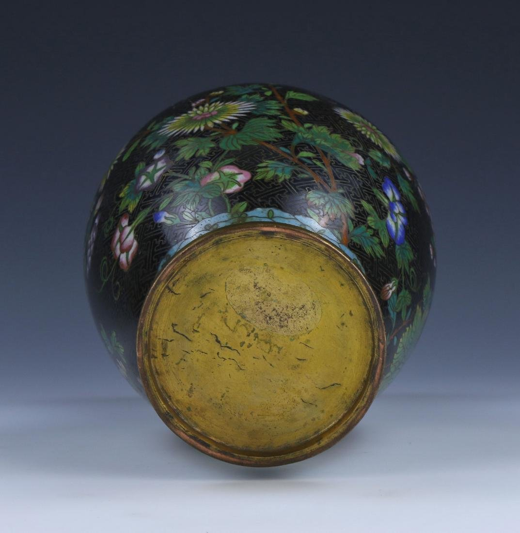A CHINESE ANTIQUE CLOISONNE ON BRONZE VASE - 5