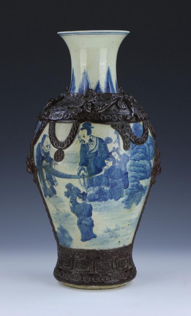 A BIG CHINESE ANTIQUE BLUE & WHITE GE-GLAZED PORCELAIN