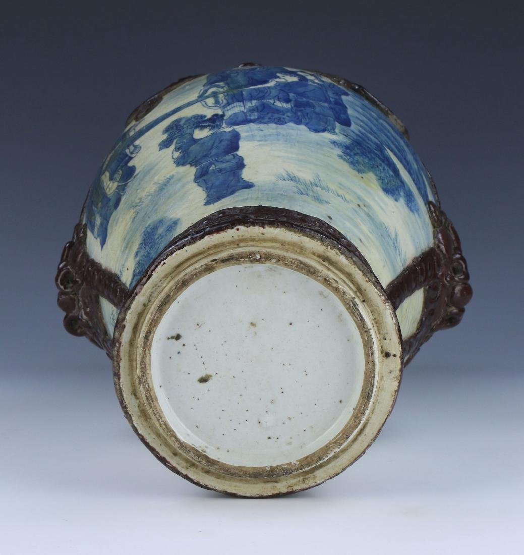 A BIG CHINESE ANTIQUE BLUE & WHITE GE-GLAZED PORCELAIN - 4