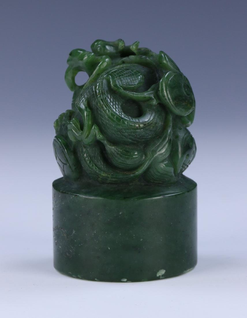 A CHINESE SPINACH JADE DRAGON SEAL - 2