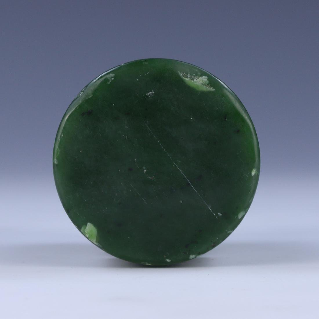 A CHINESE SPINACH JADE DRAGON SEAL - 3