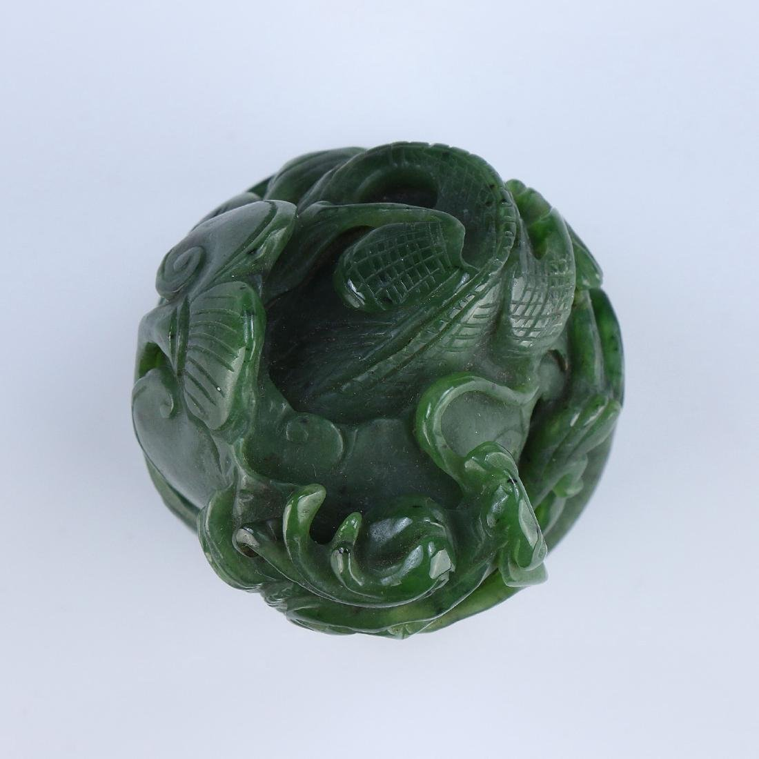 A CHINESE SPINACH JADE DRAGON SEAL - 4