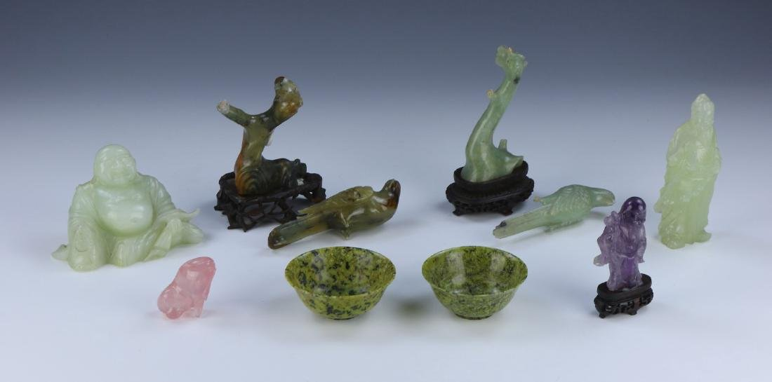 EIGHT (8) CHINESE JADE, AMYTHST & ROSE QUARTZ ITEMS