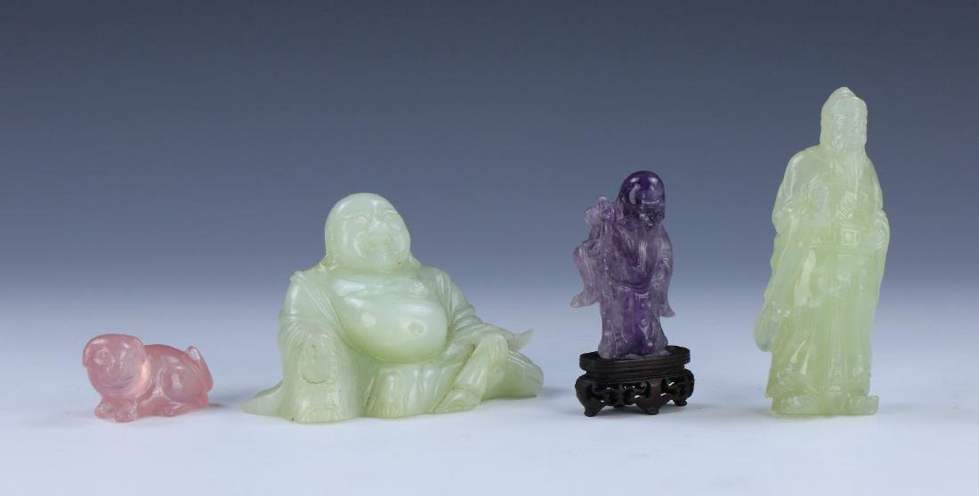 EIGHT (8) CHINESE JADE, AMYTHST & ROSE QUARTZ ITEMS - 3