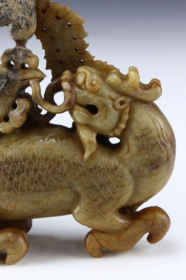 A CHINESE ANTIQUE ARCHAIC JADE CARVED FIGURE GROUP - 3