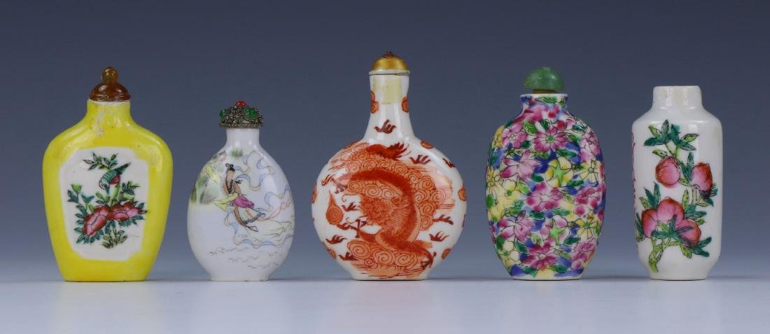 FIVE (5) CHINESE FAMILLE ROSE PORCELAIN SNUFF BOTTLES