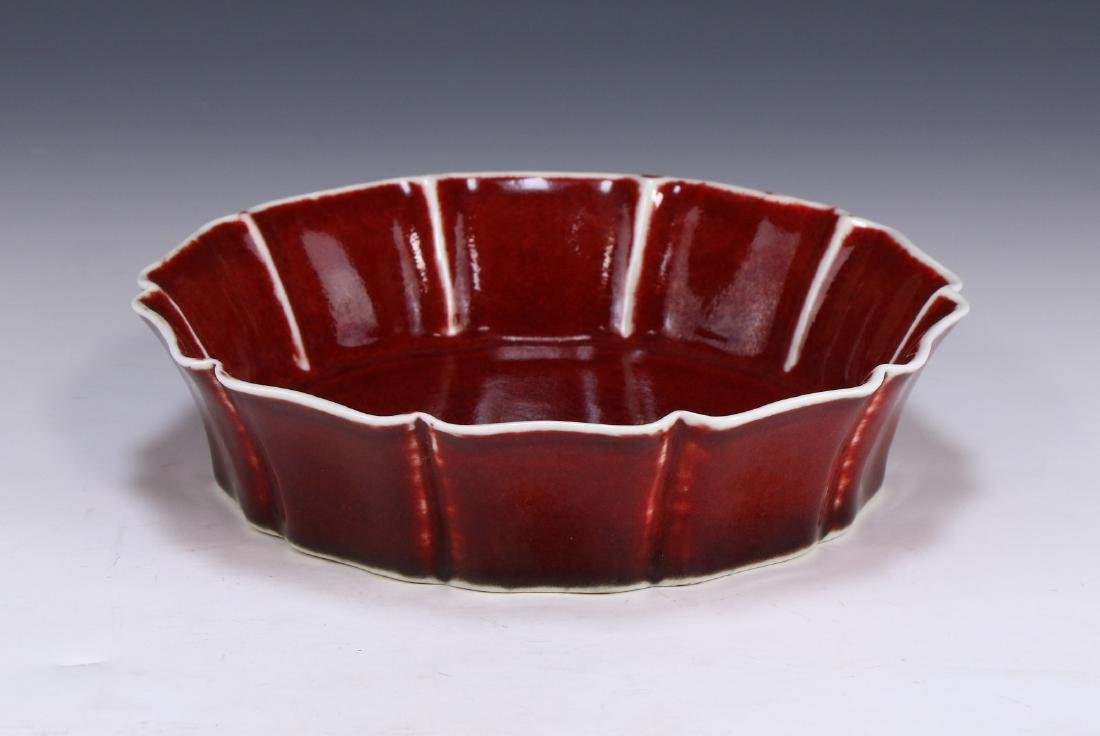 A CHINESE ANTIQUE OX BLOOD GLAZED PORCELAIN BOWL