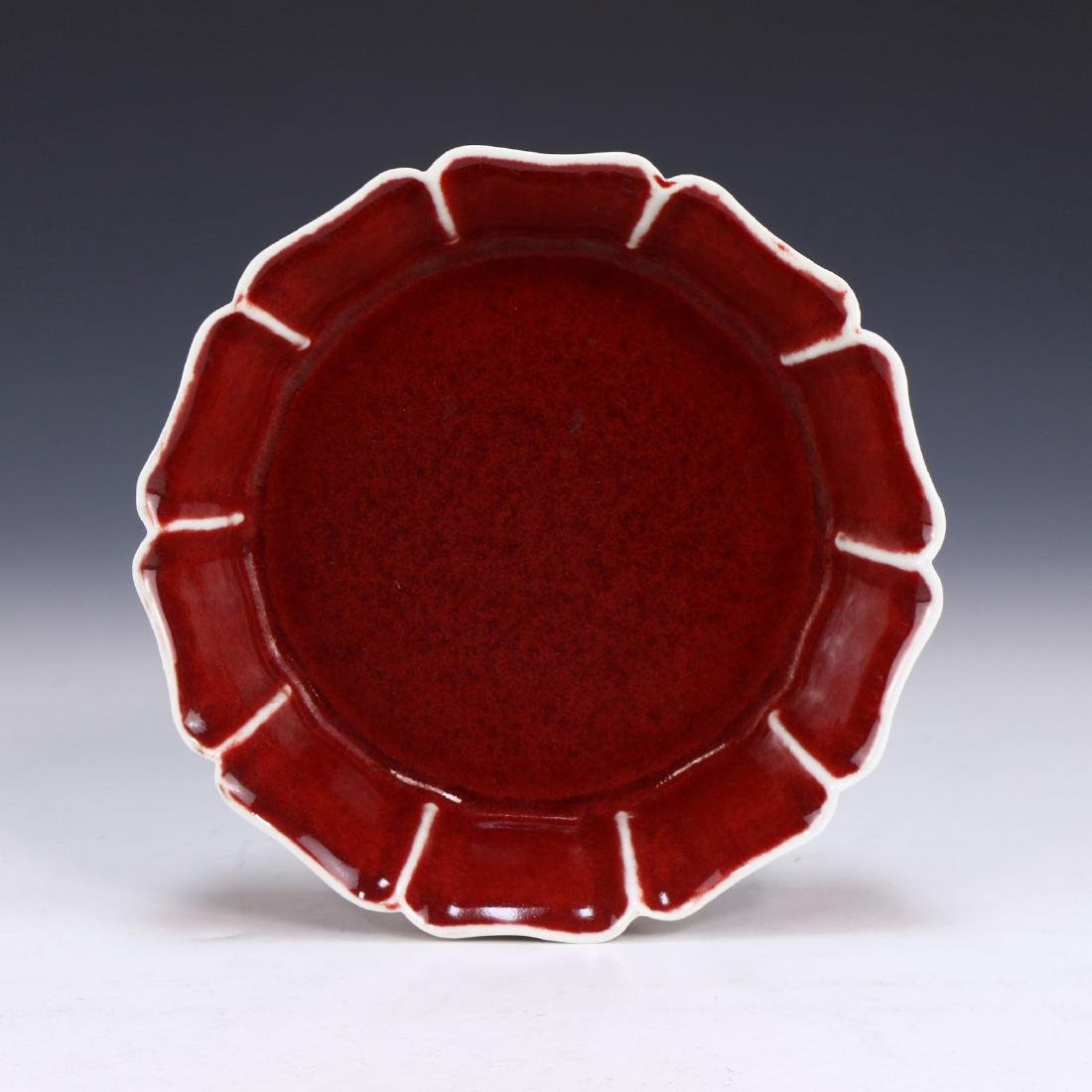 A CHINESE ANTIQUE OX BLOOD GLAZED PORCELAIN BOWL - 3