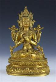 A CHINESE GILT BRONZE FIGURE OF GUANYIN AVALOKITASVARA
