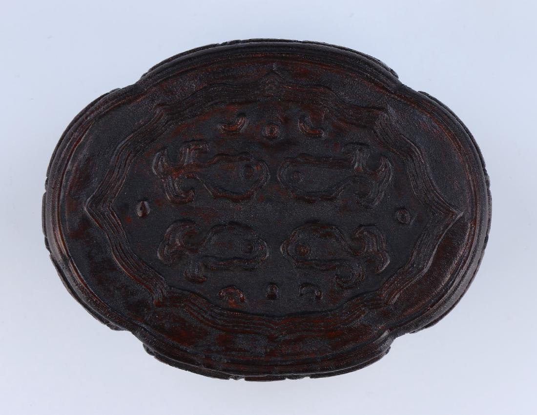 A CHINESE ANTIQUE AGARWOOD CARVED LIDDED TRINKET BOX - 3