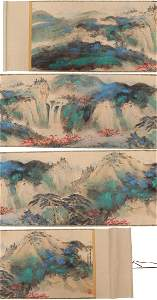 A MASSIVE CHINESE PAPER PAINTING SCROLL BY ZHANG DAQIAN