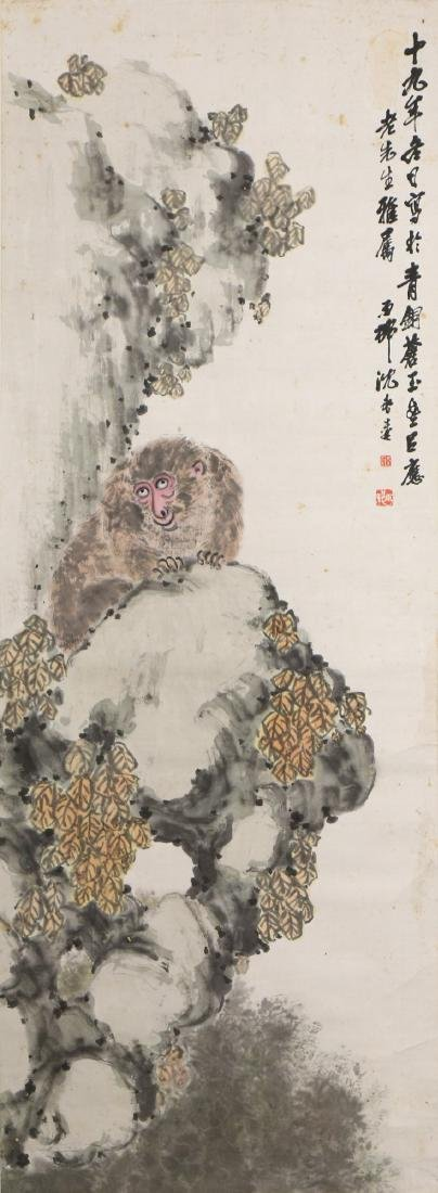 A CHINESE PAPER HANGING PAINTING SCROLL BY SHEN,