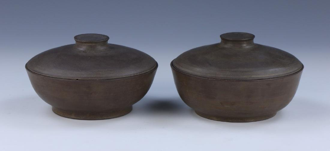 PAIR CHINESE ANTIQUE DUAN STONE LIDDED BOWLS