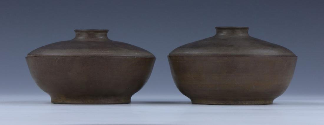 PAIR CHINESE ANTIQUE DUAN STONE LIDDED BOWLS - 2