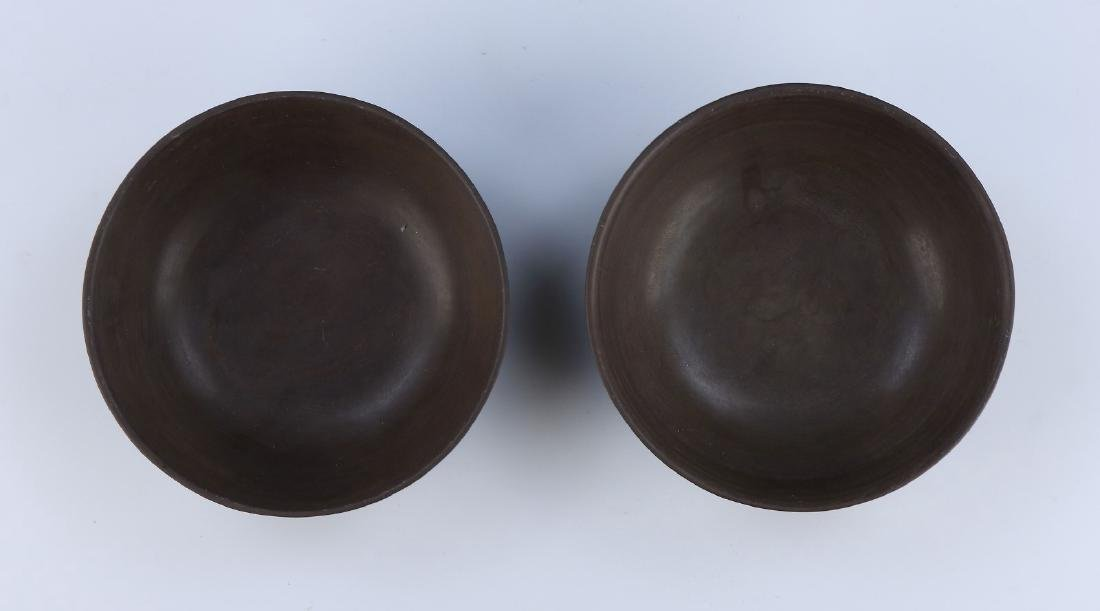 PAIR CHINESE ANTIQUE DUAN STONE LIDDED BOWLS - 3