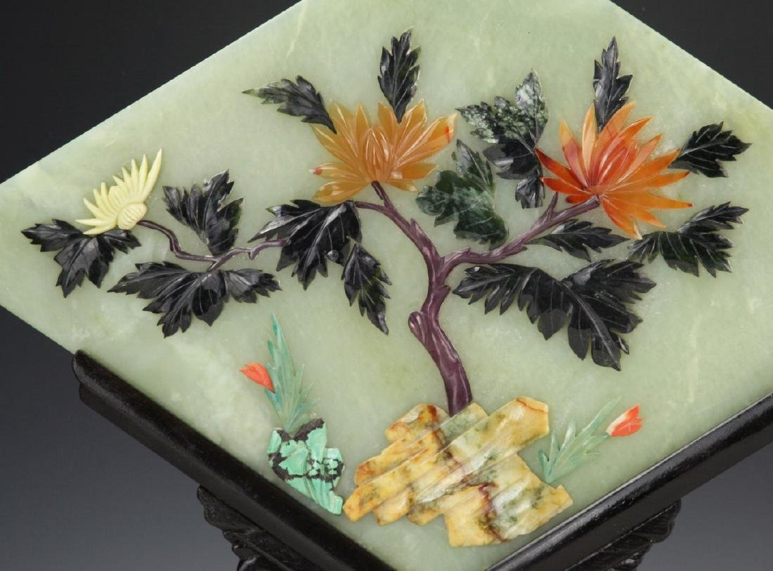 Pair Chinese Antique Serpentine Jade Table Screens - 2