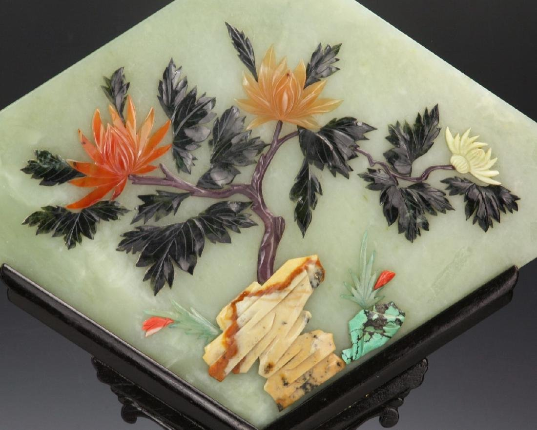 Pair Chinese Antique Serpentine Jade Table Screens - 3