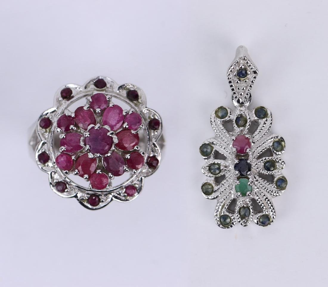 TWO (2) RUBY RING & PENDANT, 14K WHITE GOLD