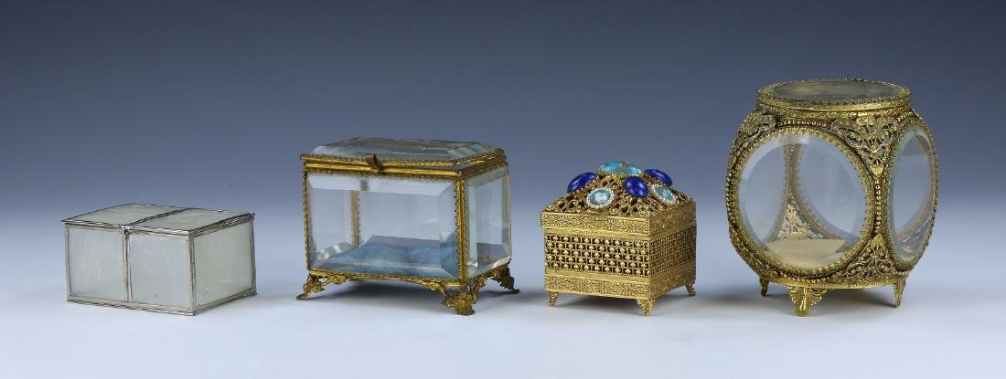 FOUR (4) MIXED GLASS & METAL BOXES