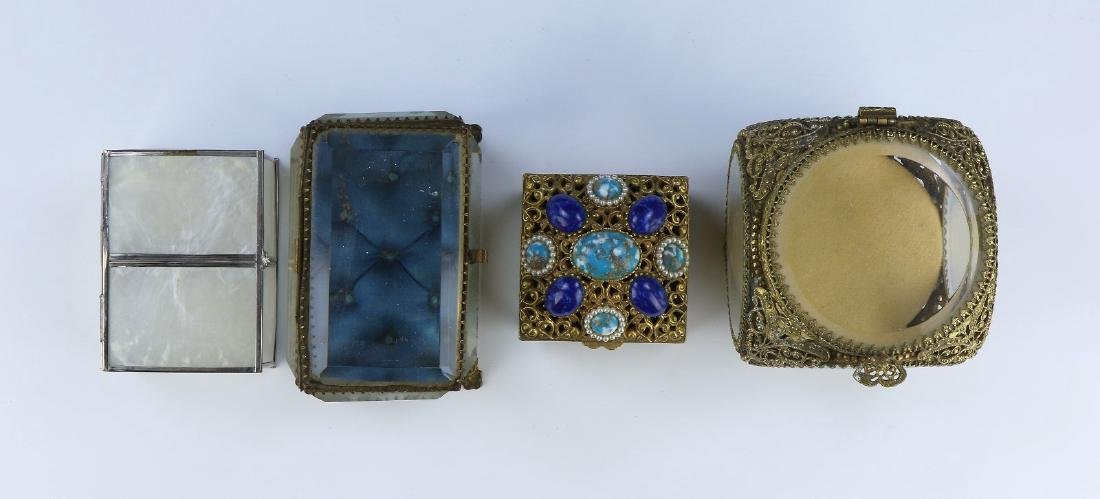FOUR (4) MIXED GLASS & METAL BOXES - 3