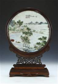 A CHINESE ANTIQUE FRAMED PORCELAIN PLAQUE BY WANG,