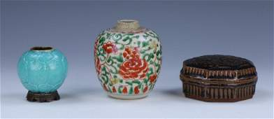 THREE (3) CHINESE MIXED PORCELAIN ITEMS