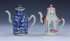 TWO 2 CHINESE ANTIQUE MIXED PORCELAIN TEAPOTS