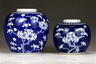 Two 2 Chinese Blue White Porcelain Jars