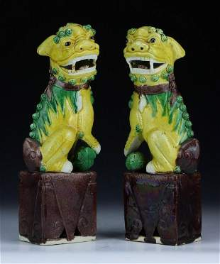 PAIR CHINESE ANTIQUE YELLOW GREEN GLAZED PORCELAIN
