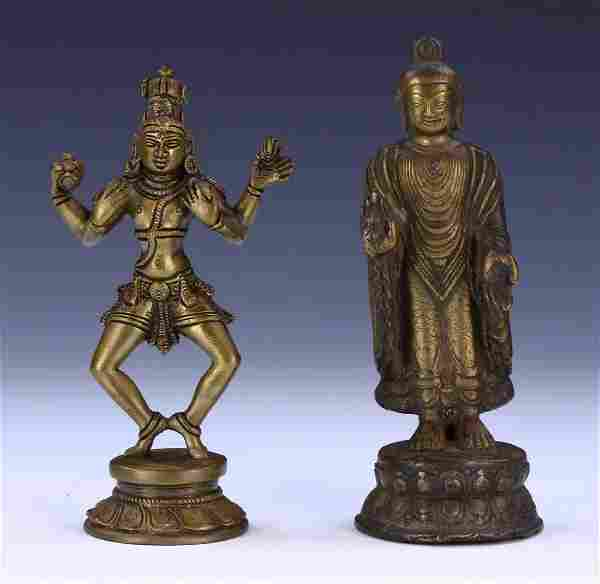 TWO (2) CHINESE ANTIQUE BRONZE FIGURES