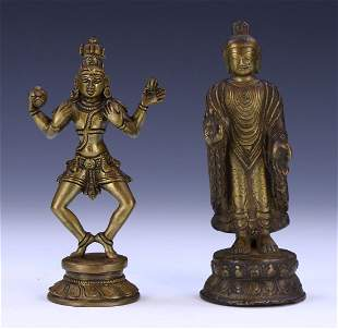 TWO 2 CHINESE ANTIQUE BRONZE FIGURES