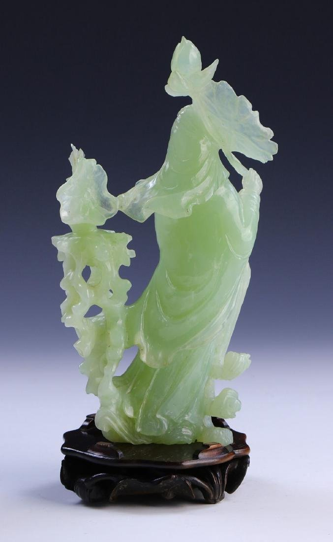 A CHINESE JADE CARVED GUANYIN - 2