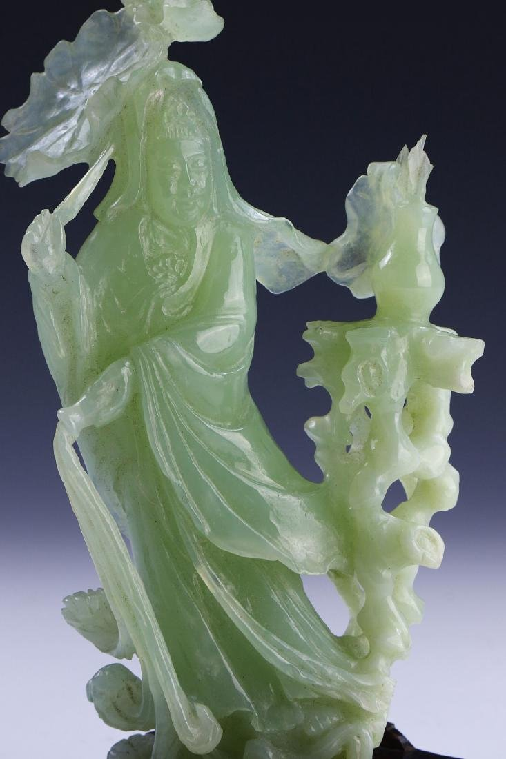 A CHINESE JADE CARVED GUANYIN - 3