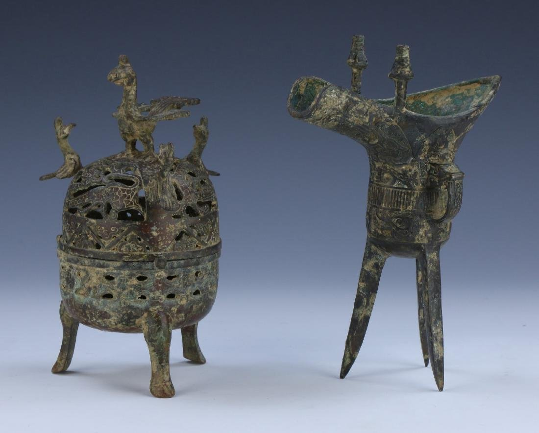 TWO (2) CHINESE ANTIQUE MIXED BRONZE ITEMS