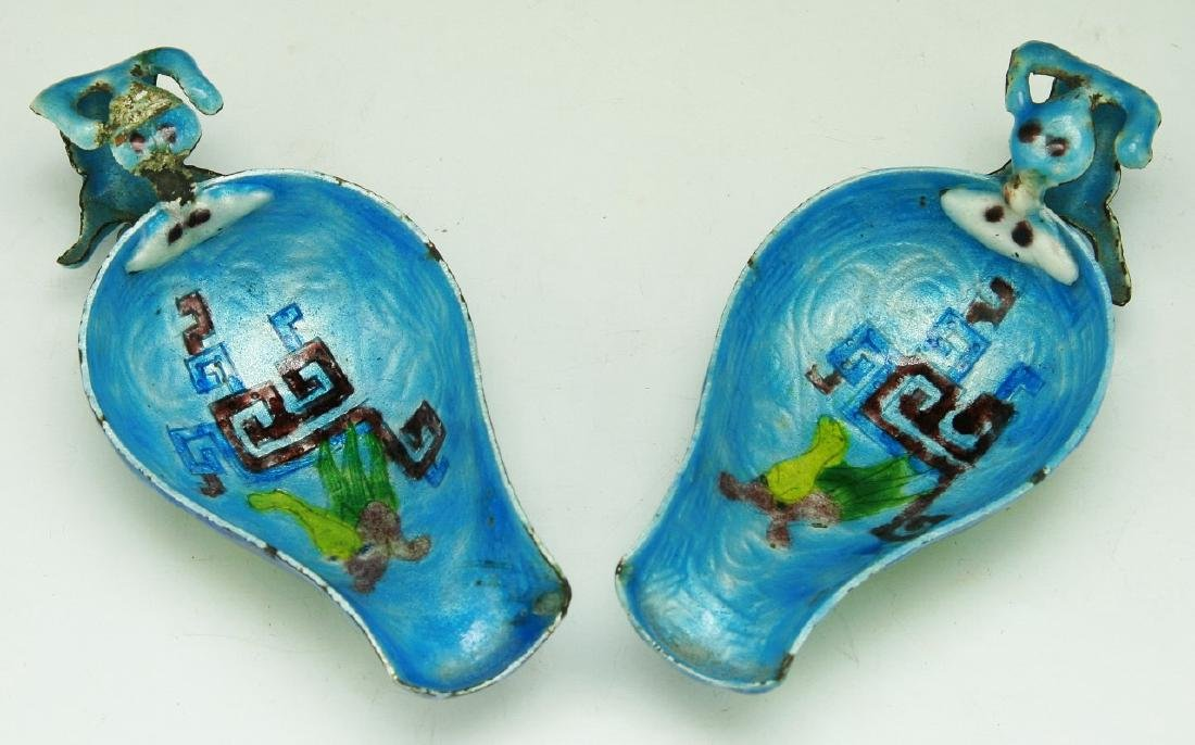 PAIR CHINESE ANTIQUE CLOISONNE ON SILVER SCOOPS