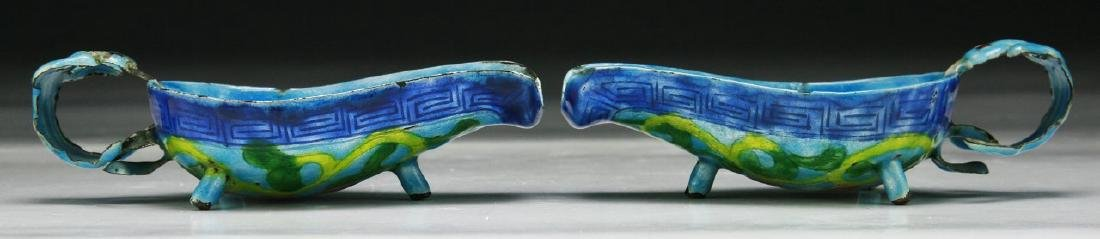 PAIR CHINESE ANTIQUE CLOISONNE ON SILVER SCOOPS - 2