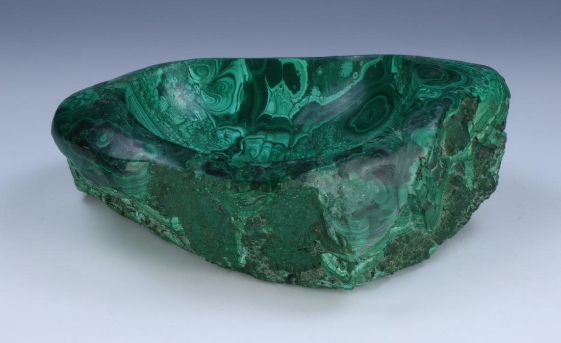 A BIG CHINESE MALACHITE CARVED BOWL