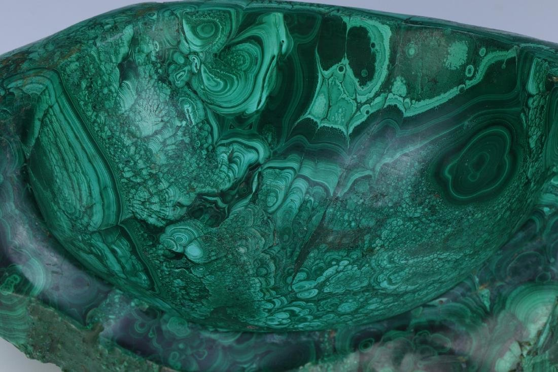 A BIG CHINESE MALACHITE CARVED BOWL - 2