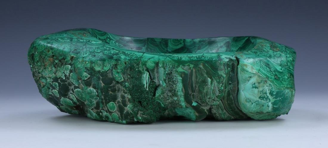 A BIG CHINESE MALACHITE CARVED BOWL - 4