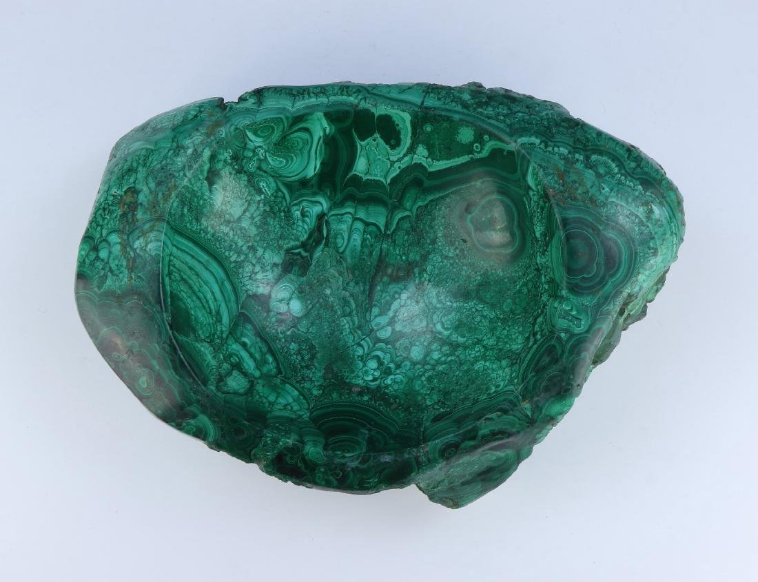 A BIG CHINESE MALACHITE CARVED BOWL - 5